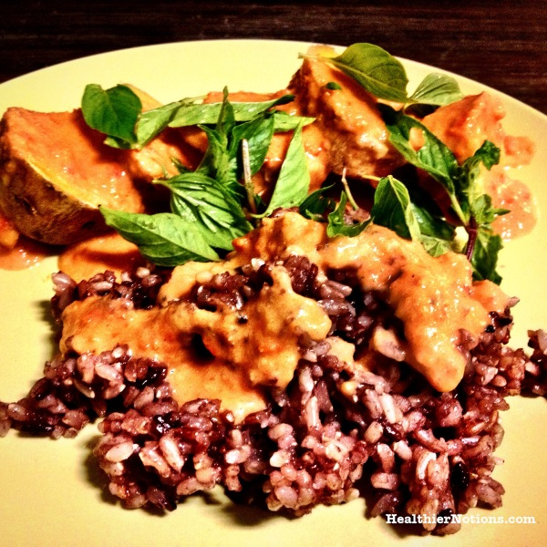 Steamed Sweet Potato with Wild Rice and Tomato Chili Sauce